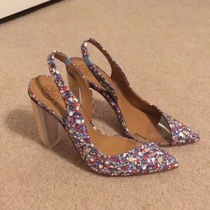 Tory Burch Blue and Red Confetti Heels